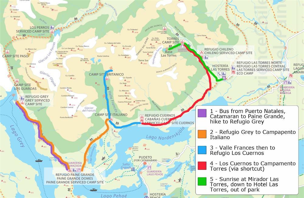 Circuito W Torres Del Paine Mapa : Torres del paine aventura em paisagens deslumbrantes