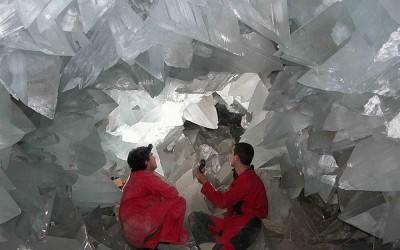 Uma das galerias com os cristais