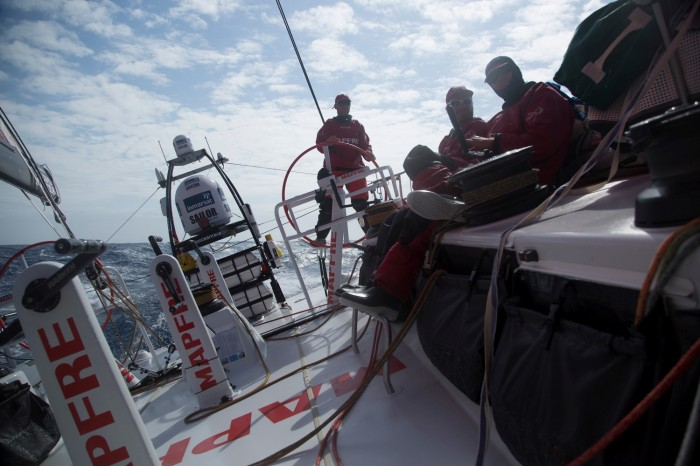 November 25, 2014. Leg 2 onboard MAPFRE. Mix of the watch teams 1 and 2.