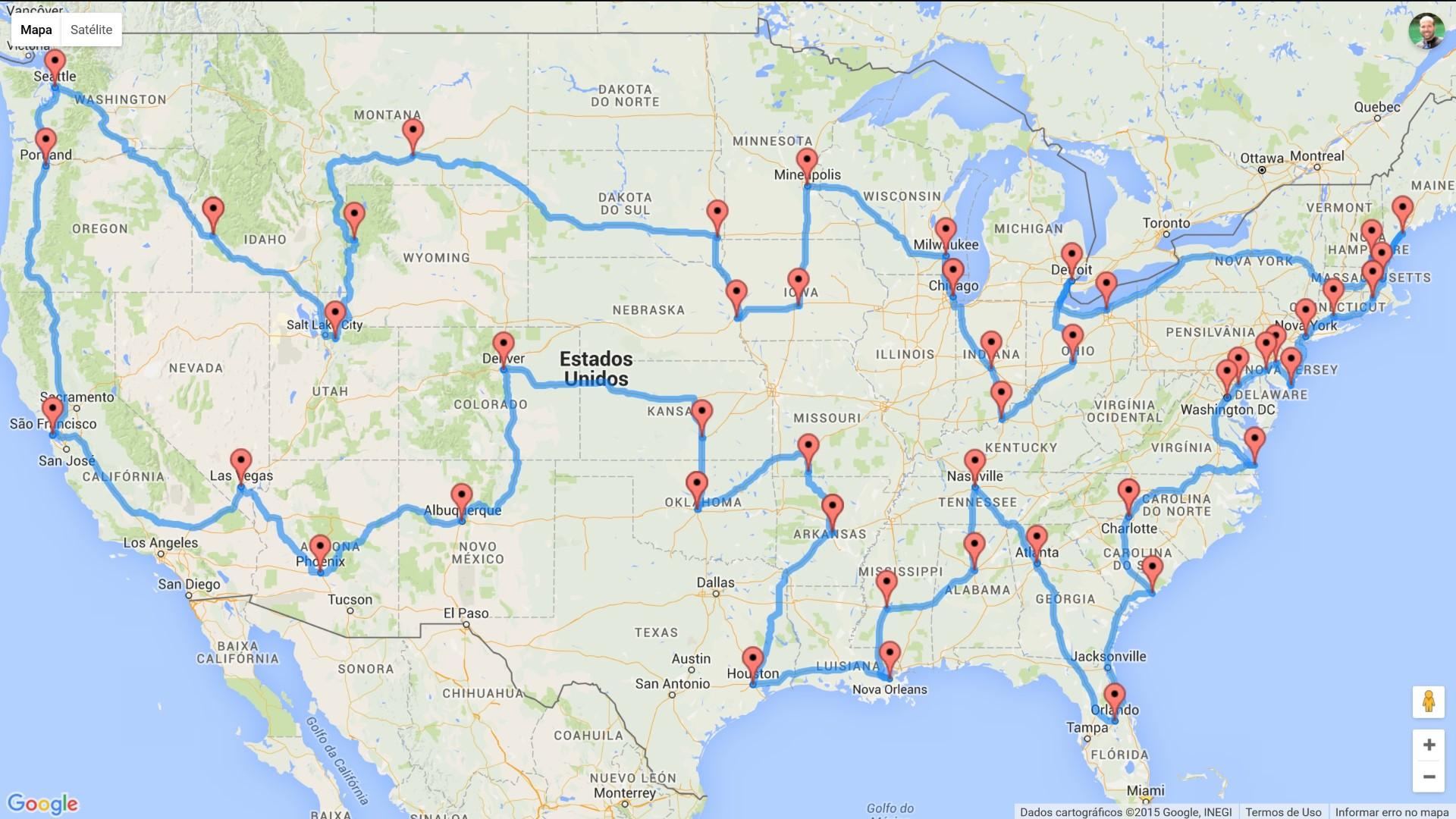 mapa eua cidades principais Rota perfeita para uma Roadtrip nos EUA   Trilhas e Aventuras mapa eua cidades principais