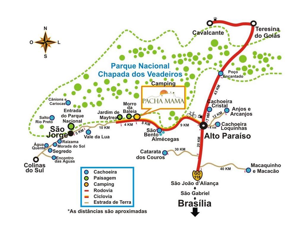 Mapa da Chapada dos Veadeiros - GO