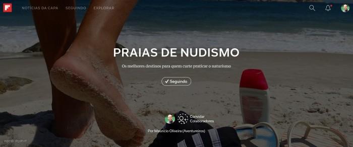 Um especial sobre praias de nudismo no Flipboard