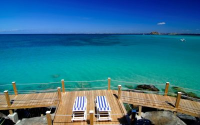 Caribbean, French West Indies, St. Martin, Grand Case Club, BOARDWALK overview to sea