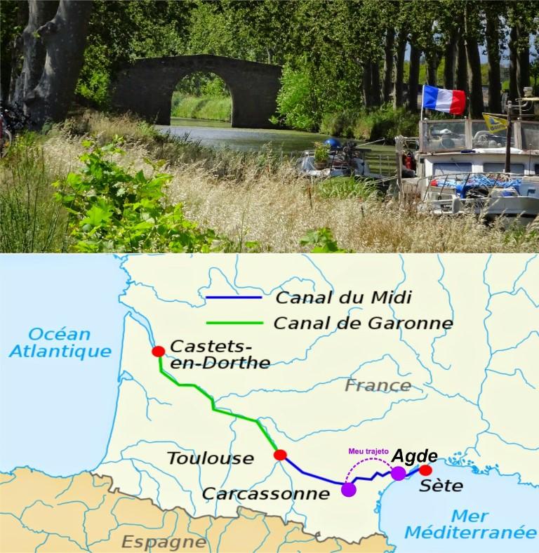 CANAL DO MIDI - Mapa do trajeto e pequeno barco de turista