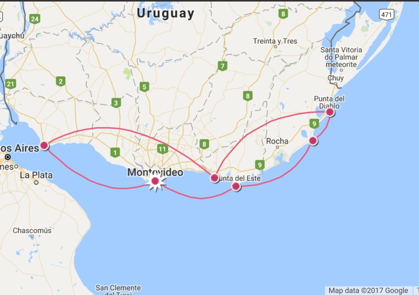 Mapa do meu roteiro no Uruguai - Quase de ponta a ponta em 6 locais