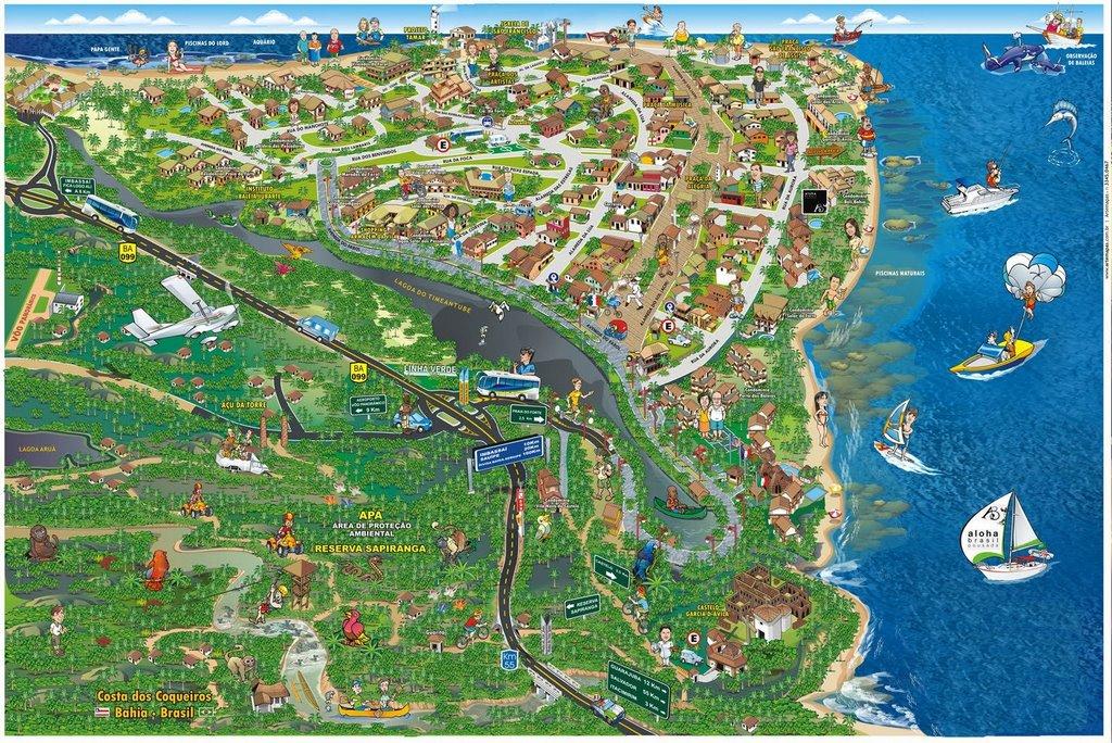 Mapa da Praia do Forte - Bahia