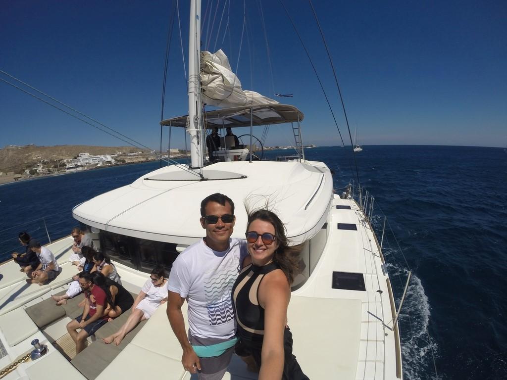 A bordo do nosso cruzeiro em Santorini