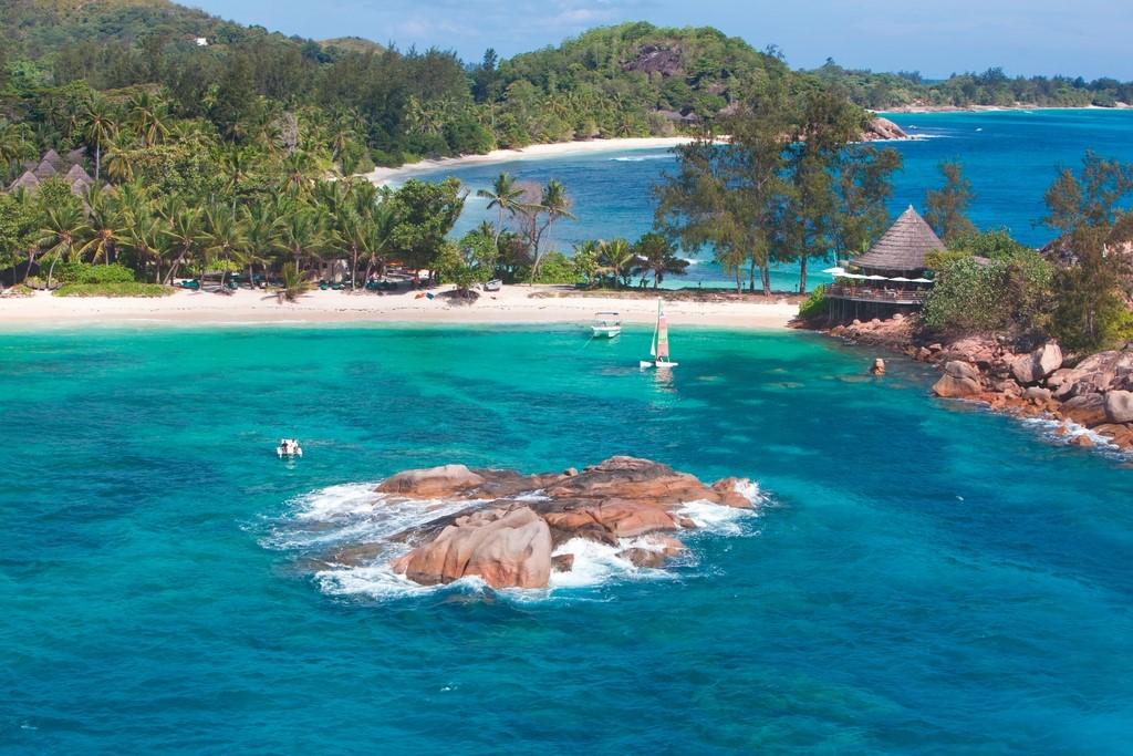 Vista aérea do Hotel Constance Lemuria em Seychelles
